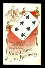 Fortune Telling Playing Card postcard Lounsbury 1907 #2037-7 Six of clubs