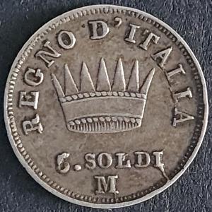 Italy, Napoleon, 5 Soldi, 1810 M, Silver, Milan, Very Fine Details