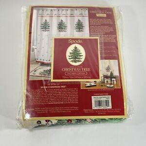 "SPODE CHRISTMAS TREE Santa Shower Curtain 72"" x 72"" Red Stripe New"