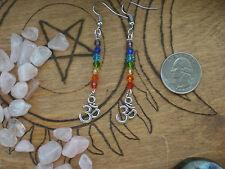 Chakra Rainbow  Swarvoski Crystal Om Earrings