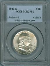 1949-D PCGS CERTIFIED MINT STATE 63 FRANKLIN HALF DOLLAR PCGS MS-63 FBL