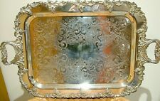 QUALITY VINTAGE SILVER PLATE ON COPPER OLD ENGLISH TEA DINNER TRAY WAITER 623