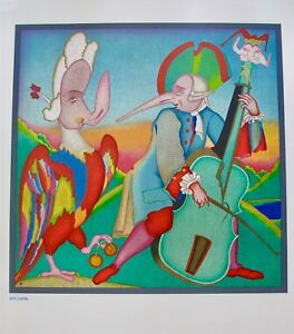 MIHAIL CHEMIAKIN CARNIVAL MUSICIAN ST PETERSBURG Large Lithograph Art Specimen