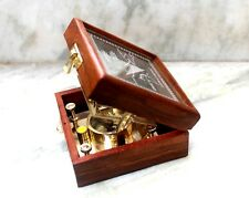 Vintage Collectible Shiny Brass Sundial Compass W/ Wooden Box Directional 3""