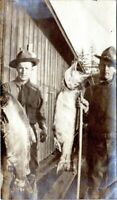 1915 Boy Scoutmasters Holding Up Giant Fish Uniform Bradford PA Vintage Photo