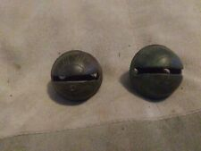 """2 Antique Primitive Brass Etched #2 Metal Harness Sleigh Bell ~1 1/4"""" Christmas"""