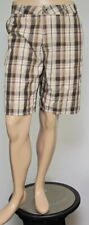 HURLEY Men's Brown Plaid Flat Front Casual Shorts 34