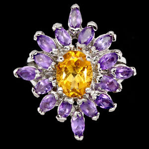 Unheated Oval Citrine 9x7mm Amethyst White Gold Plate 925 Sterling Silver Ring 7