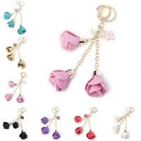Charm Rose Flowers Tassel PU Leather Keychain Handbag Purse Pendant Car Key Ring