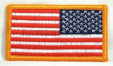 """Lot of 60 US American Flag Reverse Shoulder 3.25"""" X 2"""" Gold Border Patch NEW"""
