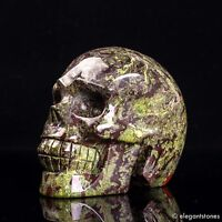 814g Large Natural Dragon Blood Stone Quartz Crystal Hand Carved Skull Healing