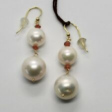 YELLOW GOLD EARRINGS 18K 750 PEARLS FRESH WATER QUARTZ CITRINE MADE IN ITALY