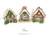 Valerie Parr Hill  Set of 3 Gingerbread Houses Illuminated With Timer Open Box