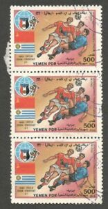 AOP Yemen PDR #447 1990 Football World Cup 500f used strip of 3