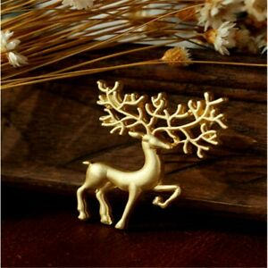Pin Brooch Elk Deer Frosted Matte Coat Collar Shirt Pin Gold Colour NEW