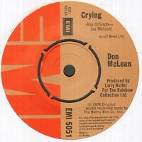 "DON MCLEAN Crying  7"" Ps, B/W Genesis, Plain White Sleeve, Emi 5051"