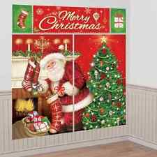 MAGICAL CHRISTMAS SCENE SETTER WALL DECORATING KIT POSTER SANTA TREE STOCKINGS
