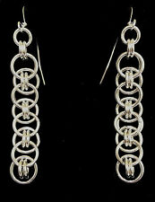Handmade Sterling Silver Celtic Line Chainmaille Earrings. 2 1/4 Inches.