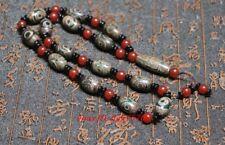 China Tibet Buddhism 9*Eyes Dzi Agate Beads 3*Eyes Dzi Pendant Necklace