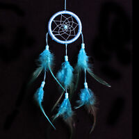 Turquoise Blue Dream Catcher Metallic Web Design with Feathers and Beads