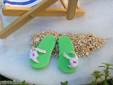 Miniature Dollhouse FAIRY GARDEN ~ Seaside Beach Green Flip Flops ~ NEW
