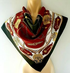 Dark Green White Brown Vintage Scarf  Gold Chains and Keys