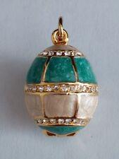 Faberge inspired Blue Egg Crystal  Pendant Bracelet Charm Locket New