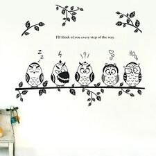 5 Cute Owl Branch Wall stickers Nursery Home Decal Removable Kids Deco Vinyl Au