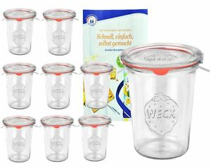 9 Weck Gläser 850ml Sturzgläser Deckel Gummi Klammern Einmachglas Einweckgläser