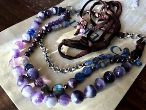 NEW $398 Sundance Catalog Labradorite Amethyst Pearl Garnet Leather Necklace NWT