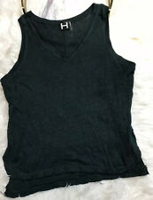 H by Bordeaux Women's Sleeveless Top Blouse Size L Green Anthropology Linen