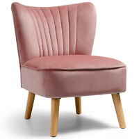 Armless Accent Chair Modern Velvet Leisure Chair Single Sofa Upholstered Pink