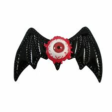 Eyeball Bat Wing Hair Pin Clip Large Barrette Bow Gothic Goth Horror Black Red