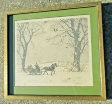 Tavík František Šimon (1877-1942) signed aquatint sleigh ride framed RARE