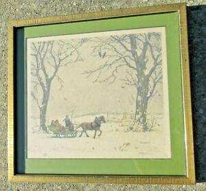 Tavík František Šimon (1877-1942) signed aquatint sleigh ride framed RARE