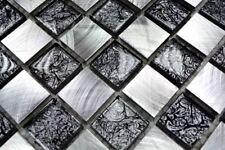 Mosaïque aluminium verre cristal échiquier noir argent 49-0302_8mm_b   1 plaque