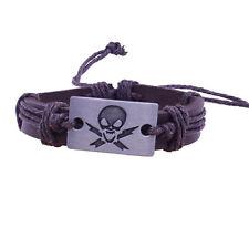Hombre Cráneo cuero pulseras brazaletes Tibetano joyería Bracelet