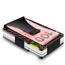Men's Carbon Fiber Credit Card Holder Elastic Band Slim Wallet Purse Money Clip