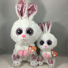 """2020 Easter TY Beanie Boos SLIPPERS Bunny Rabbit Set of 2 (6"""" Reg & 9"""" Med) MWMT"""