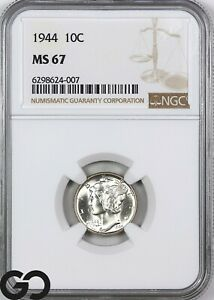 1944 MS67 Mercury Dime NGC Mint State 67 ** Nice Blazer!