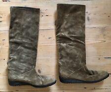 YSL Ladies Boots Vintage Suede Olive Brown  Leather Black Lining Low Wedge 3UK