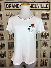 Brandy Melville White Rose In Hand Red Ringer Graphic T Shirt Top Nwot