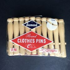 Vtg Diamond Round Wood Clothes Pins Slotted Wooden Clothespins 30 Pins