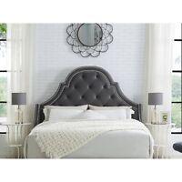 Velvet or Linen Upholstered Platform Headboard Nailhead Tufted Queen King Size