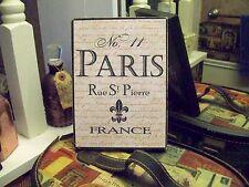Paris France wall decor sign block Fleur de lis shabby French  chic vintage