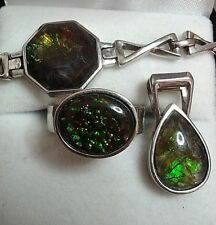 Ammolite Bracelet, Pendant, and Ring (Size 7) Platinum-coated Silver