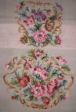 EP 4146 Vintage Pink Carnations 2pc Chair Seat Set Preworked Needlepoint Canvas