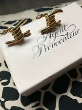 Agent Provocateur RARE Barb Wire Swarovski Crystal Gold Stud Earrings New In Box