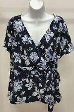 NWT $34 Covington Multi-Color Floral Short Sleeve Faux Wrap Side Bow Top Sz: 16W