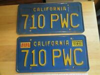 Collectible Vintage California Blue Plate License Plates 710 PWC Front Rear VGC